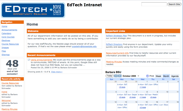 EdTech Google Site Home Page Sample
